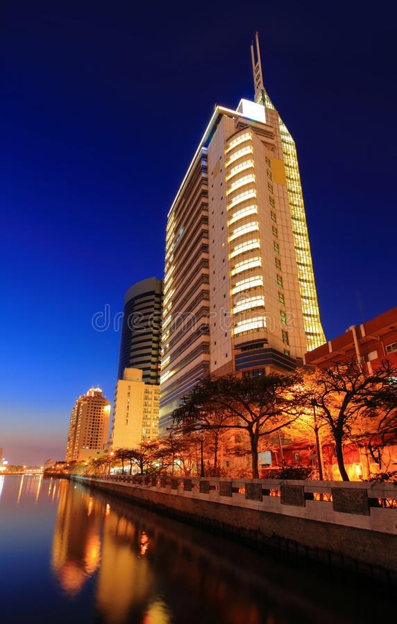 Business Building with Sunset royalty free stock photos