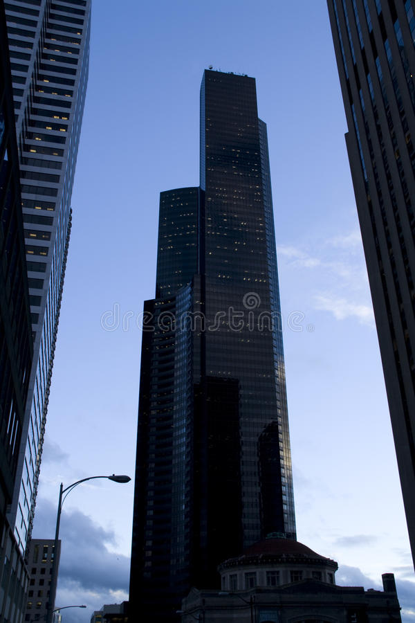 Business buildings in the evening lights. In downtown Seattle royalty free stock photos
