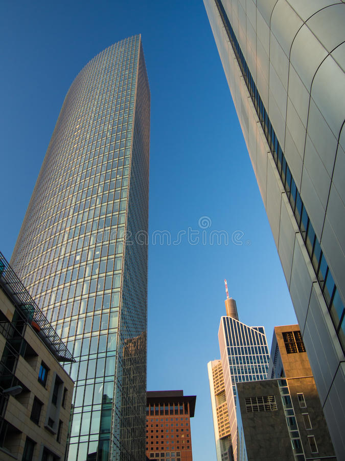 Business buildings in the financial district of Frankfurt. Office buildings in Frankfurt, Germany, one of the most fascinating financial areas of Europe royalty free stock image