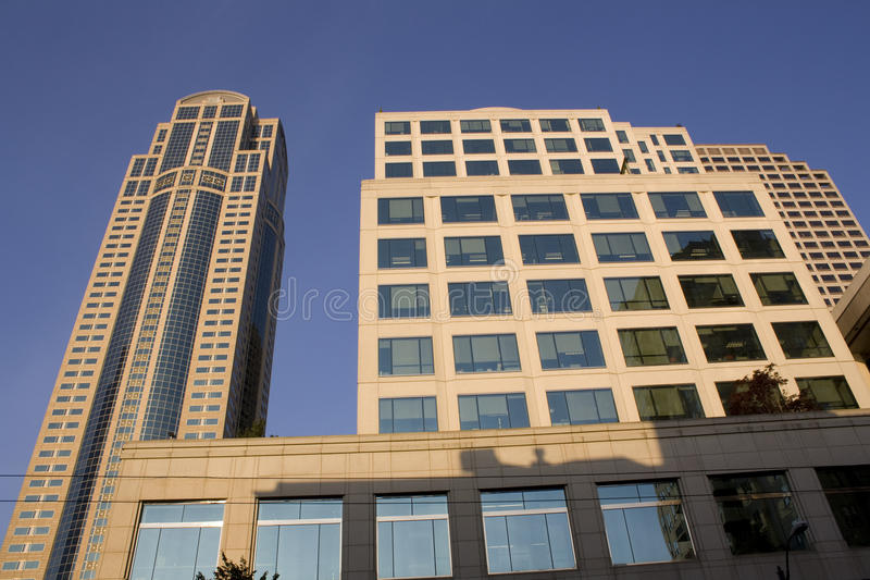Business buildings, offices. Modern business buildings in downtown Seattle stock photography