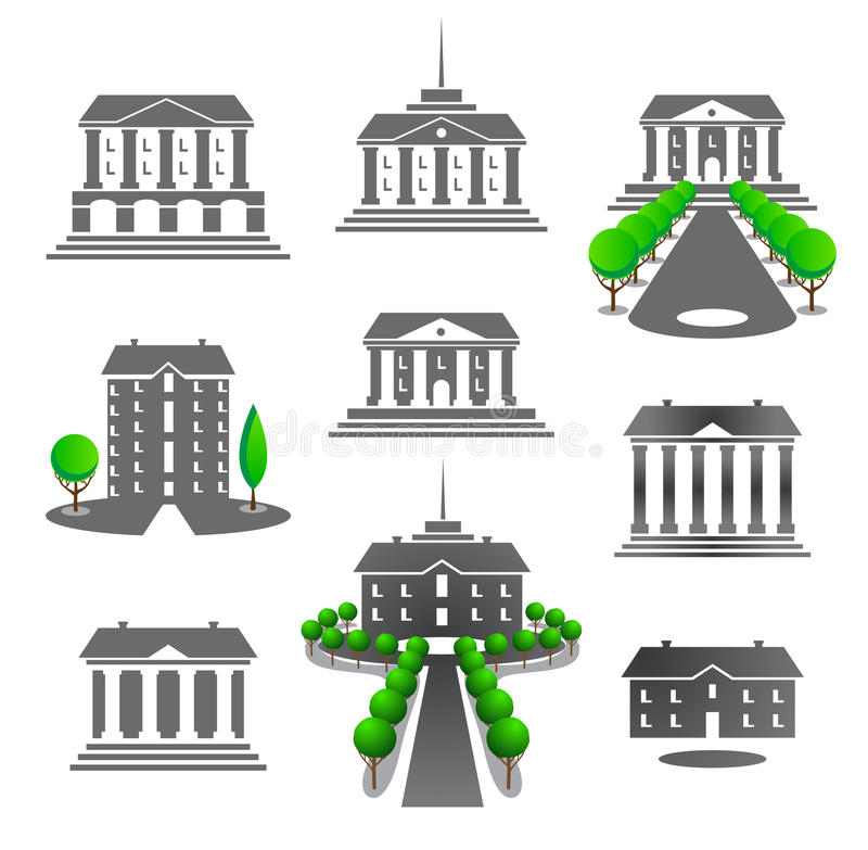 Buildings Emblems Set Stock Vector. Illustration Of
