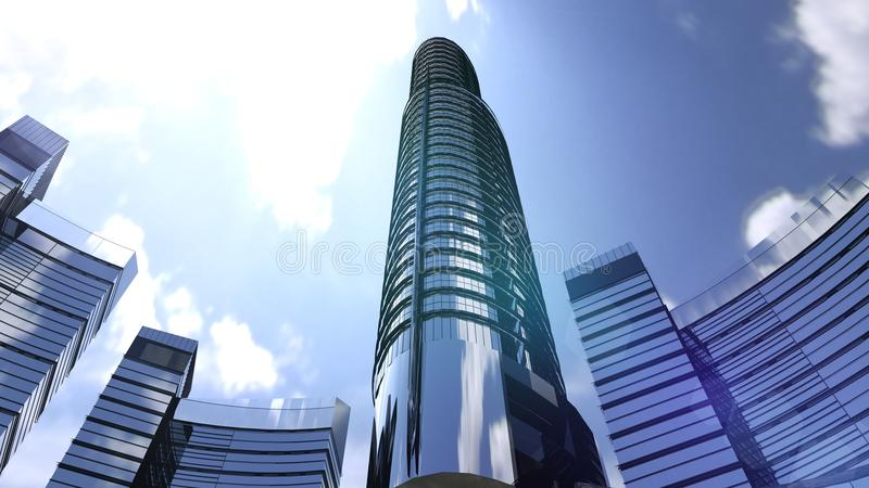 Business buildings skyscrapers with blue sky. Skyscrapers and modern architecture. 3D rendering royalty free illustration