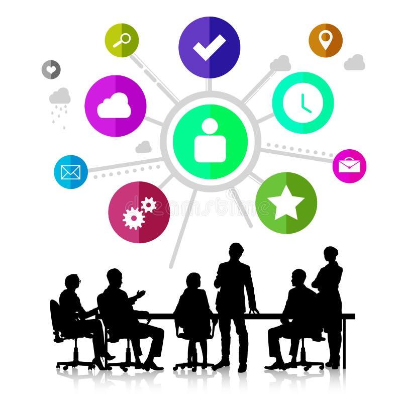 business businessman cmputer desk laptop meeting smiling talking to using woman ελεύθερη απεικόνιση δικαιώματος