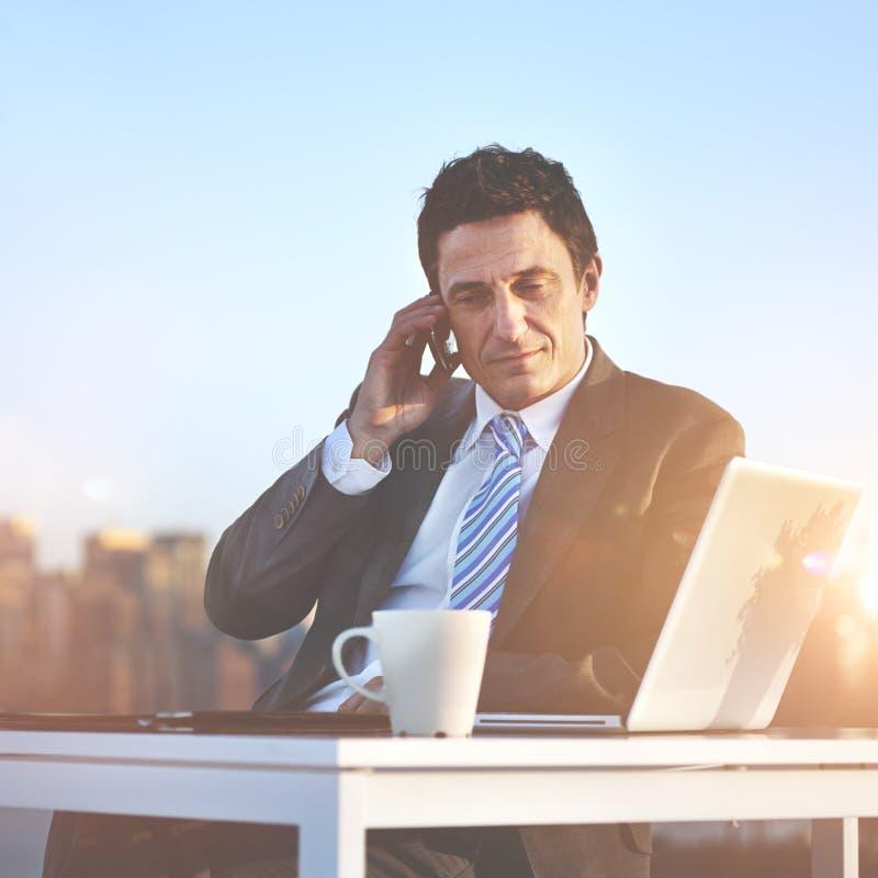 Business Businessman Telecommunication Wireless Concept.  stock image
