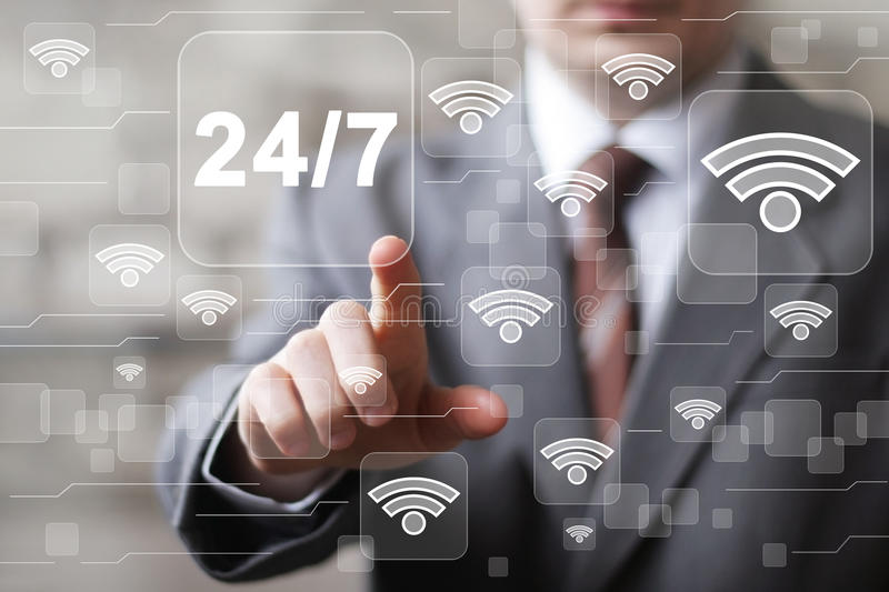 Business button 24 hours service web wifi icon stock photography
