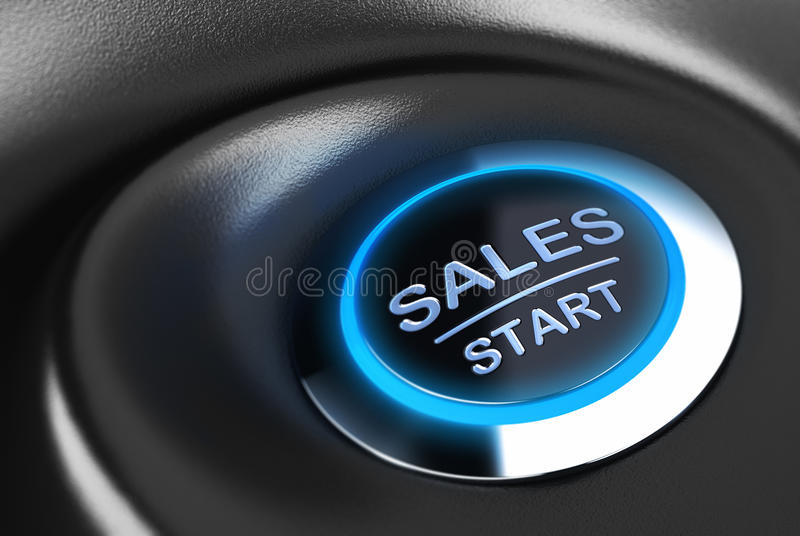 Business button, Sales Motivation. Sales button with blue light. 3D render over blue and black background suitable for sales motivation and solution concept