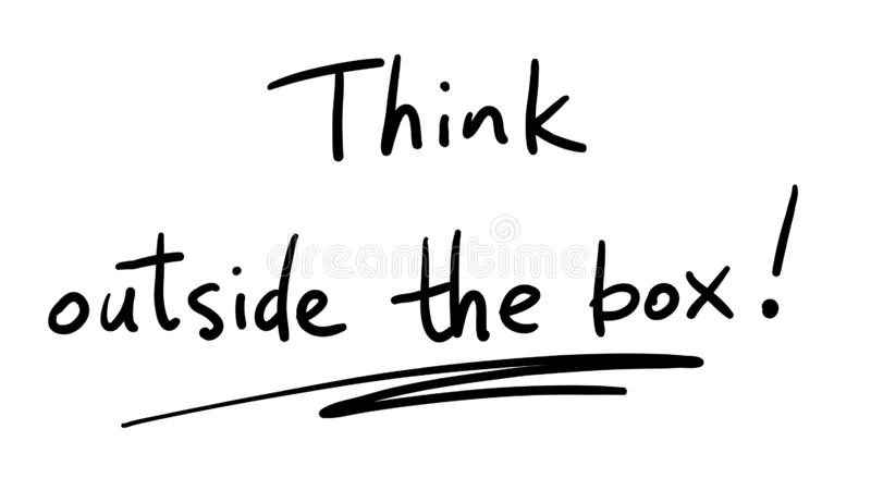 Business Buzzword: think outside the box - vector handwritten phrase royalty free illustration
