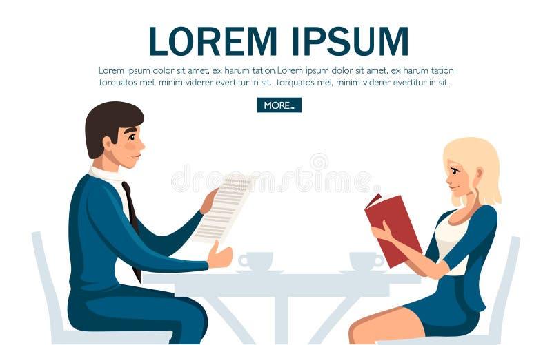 business cafe meeting Man- och kvinnamöte för två personer som sitter på stol på tabellen Tecknad filmteckendesign Plan vektor royaltyfri illustrationer