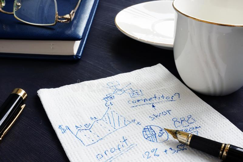Business calculation and creative ideas written on a napkin. stock photography