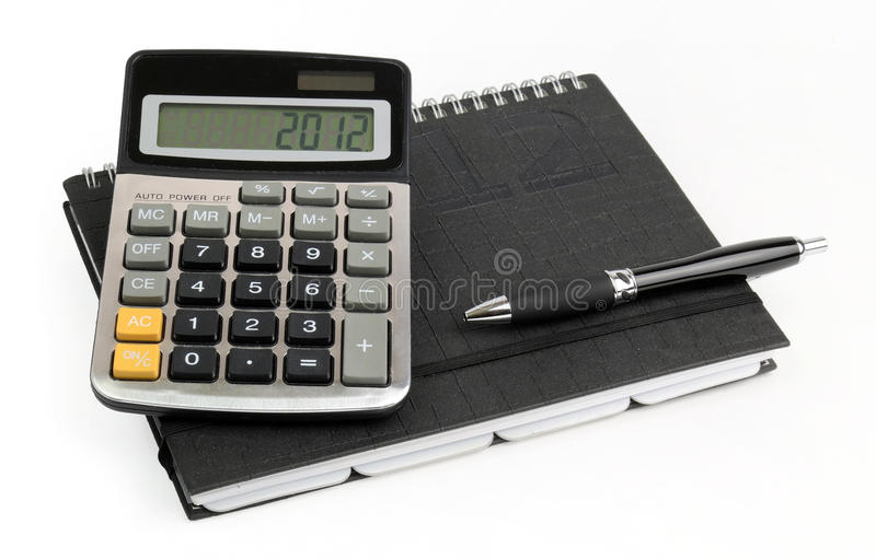 Business calculations for 2012 year stock photo