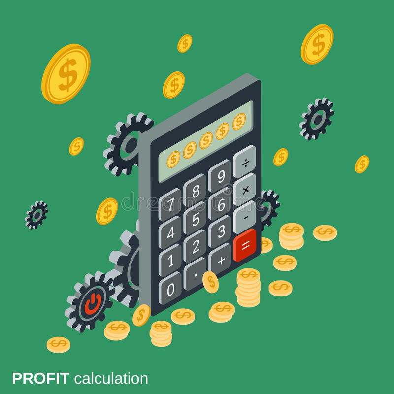 Business calculator, financial statistics, profit calculation vector illustration. Business calculator, financial statistics, profit calculation flat isometric royalty free illustration