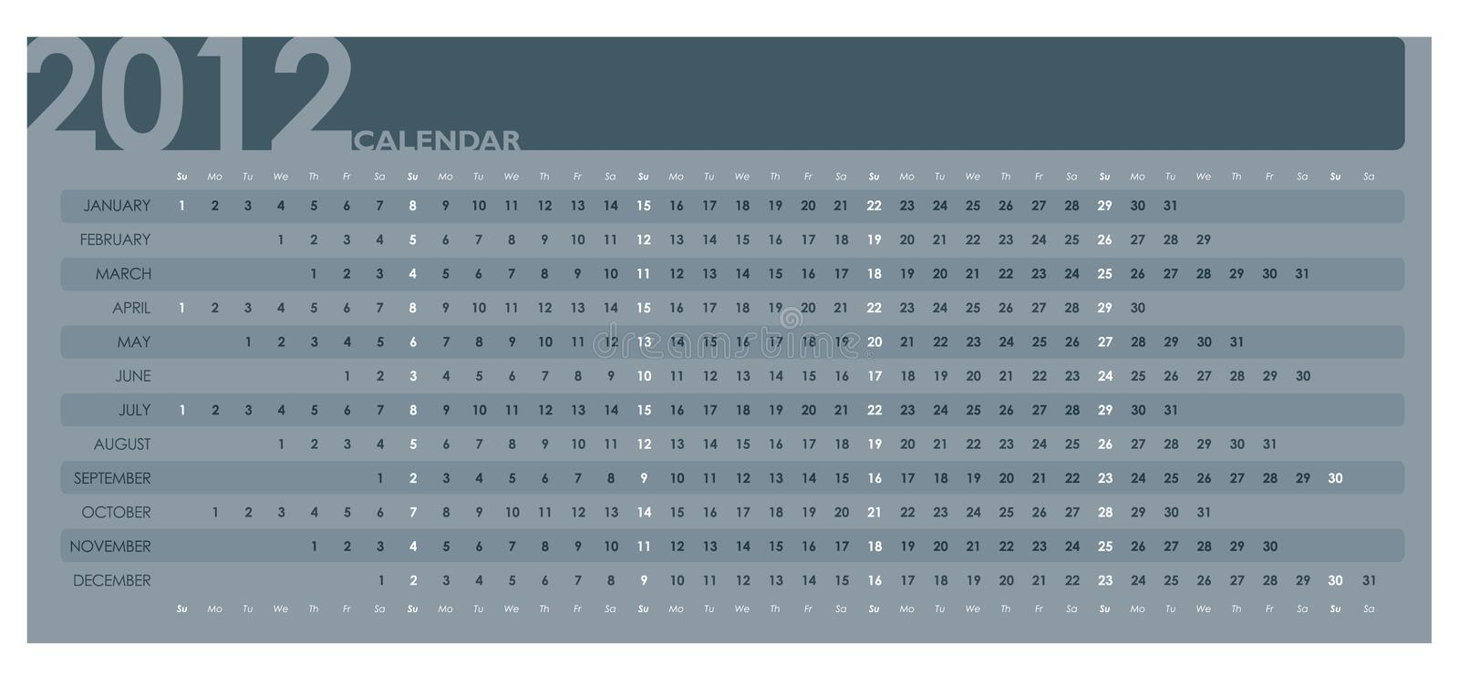 Business Calendar 2012. On the white background vector illustration
