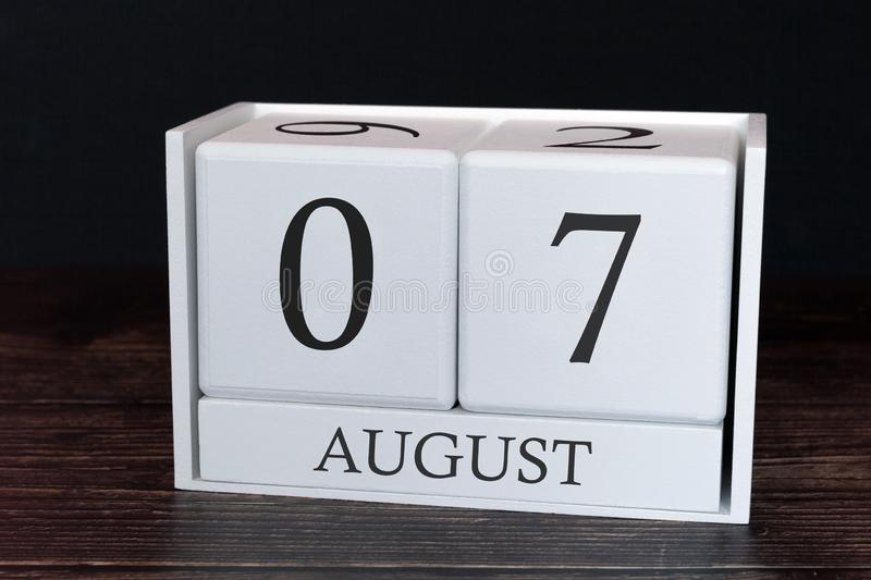 Business calendar for August, 7th day of the month. Planner organizer date or events schedule concept stock image