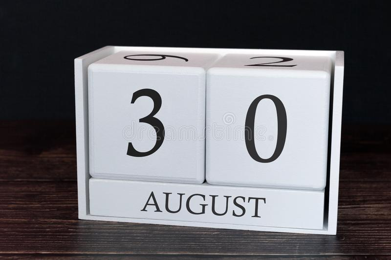 Business calendar for August, 30th day of the month. Planner organizer date or events schedule concept stock images