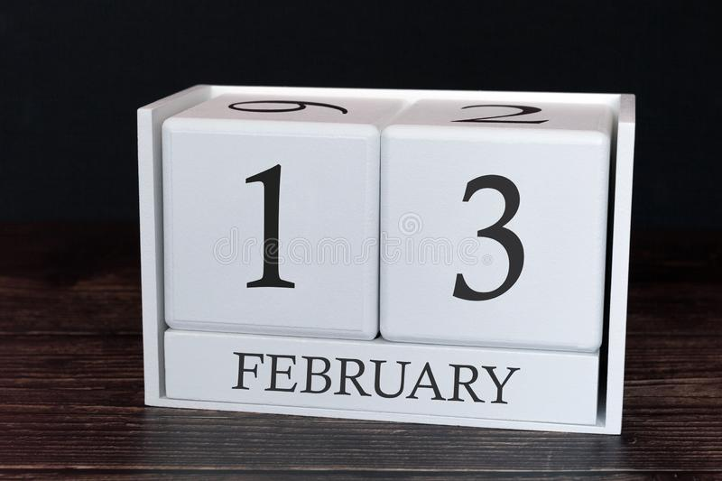 Business calendar for February, 13th day of the month. Planner organizer date or events schedule concept stock photos