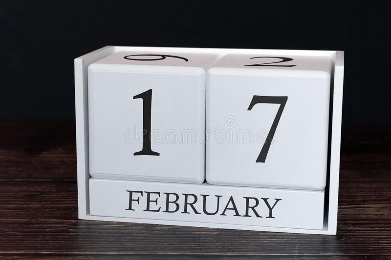 Business calendar for February, 17th day of the month. Planner organizer date or events schedule concept stock image