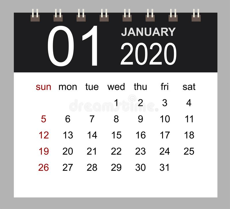 Business calendar 2020 of January. Notebook isolated page vector illustration