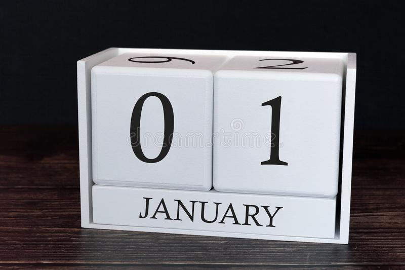 Business calendar for January, 1st day of the month. Planner organizer date or events schedule concept stock photo