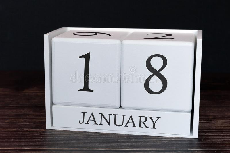 Business calendar for January, 18th day of the month. Planner organizer date or events schedule concept royalty free stock photos