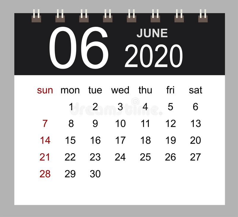 Business calendar 2020 of June. Notebook isolated page. Week starts Sunday. Vector illustration royalty free illustration
