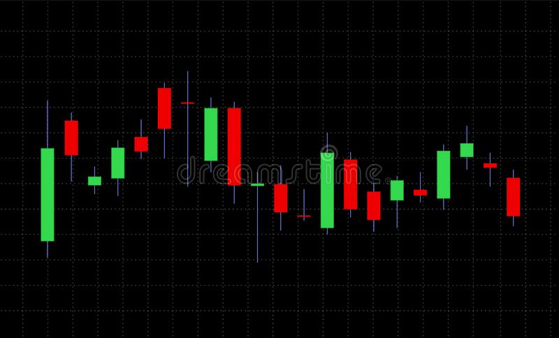 Business candle stick graph chart of stock market on dark background royalty free illustration