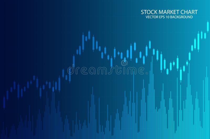 Business candle stick graph chart of stock market investment trading on blue background. vector illustration vector illustration