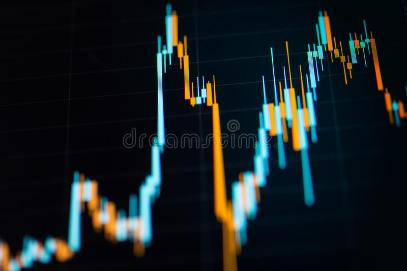 Business candlestick graph chart of stock market investment trading. Financial chart with up trend line graph stock images