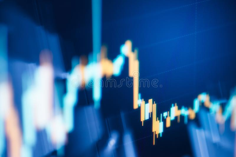 Business candlestick graph chart of stock market investment trading. Financial chart with up trend line graph stock image