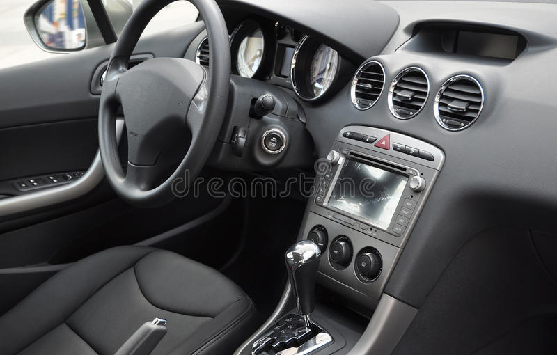 Business car interior. With leather ornament stock photo