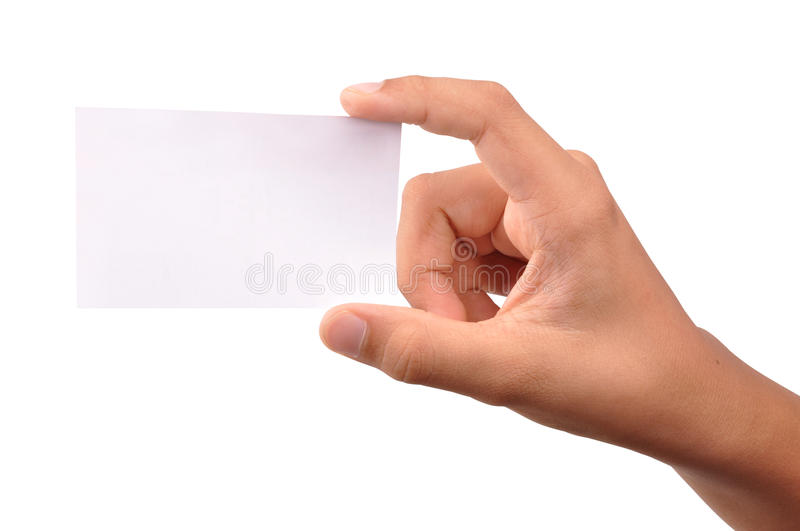 Business card. Blank business card holding between fingers stock image