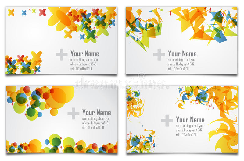 Business Card. Four different business card backgrounds that can be used for your company's identity stock illustration