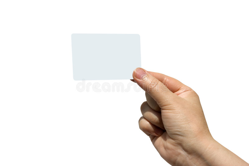 Business card. Hand holding a blank business card royalty free stock photo