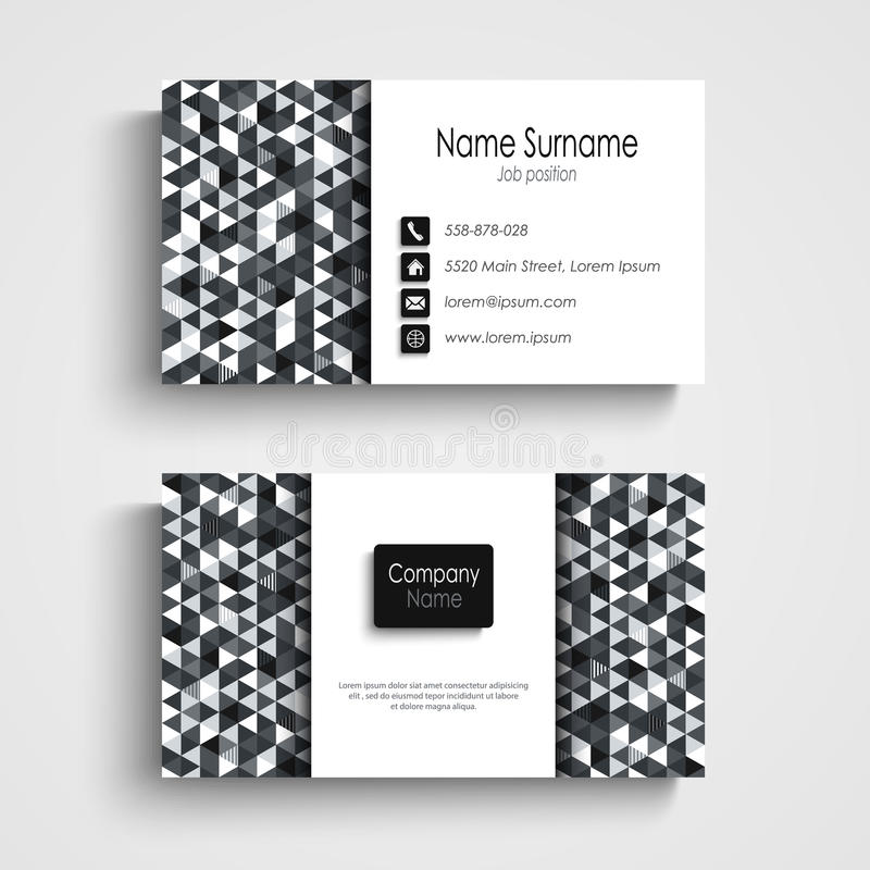 Business card with abstract black white triangles template vector illustration