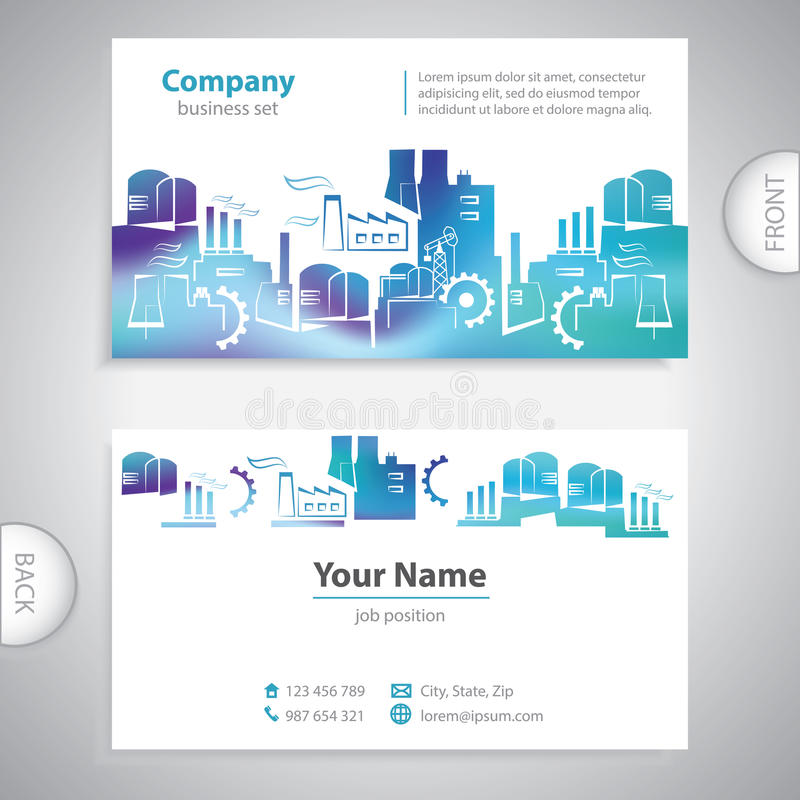 Business card abstract factory silhouettes stock illustration business card abstract factory silhouettes company presentations reheart Images