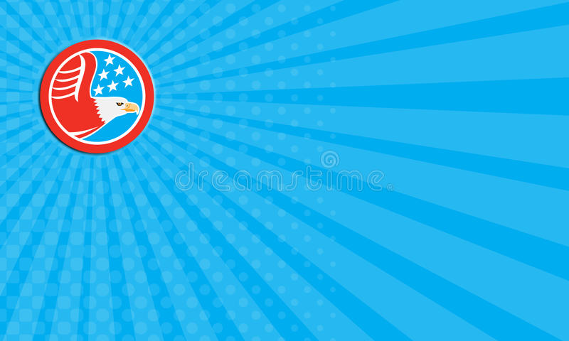 Business card American Bald Eagle Stars Circle Retro royalty free illustration