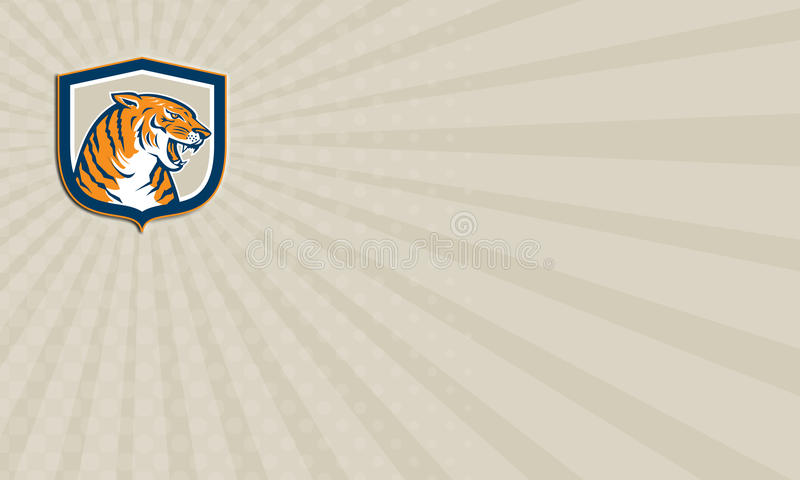 Business card Angry Tiger Head Sitting Growling Shield Retro stock illustration