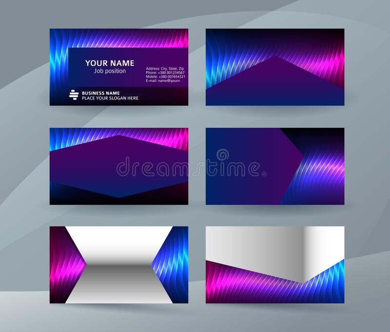 Business card background blue magenta neon effect03 vector illustration