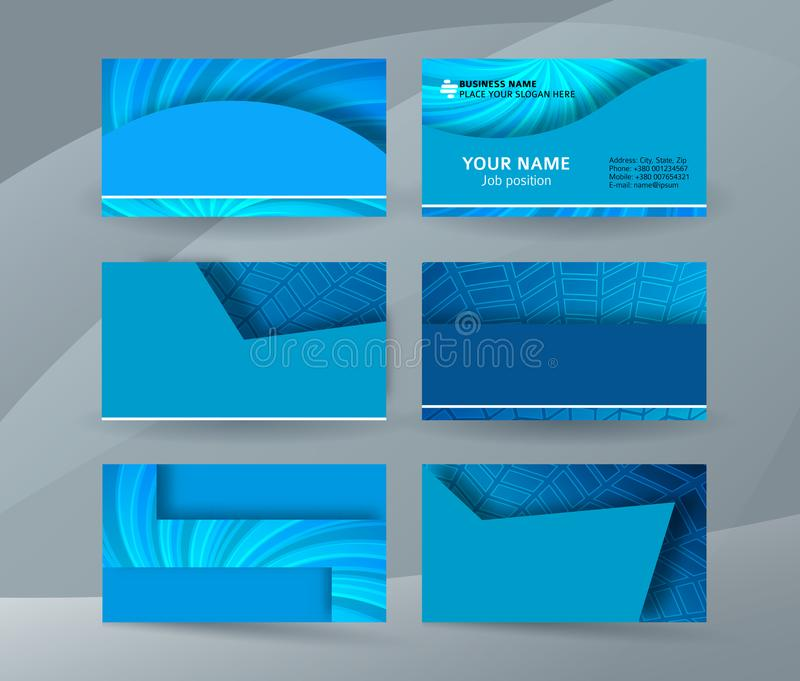 Business card background blue set of horizontal templates04 stock abstract professional and designer business card one sided template or clear and minimal visiting card set name card blue background flashek Images