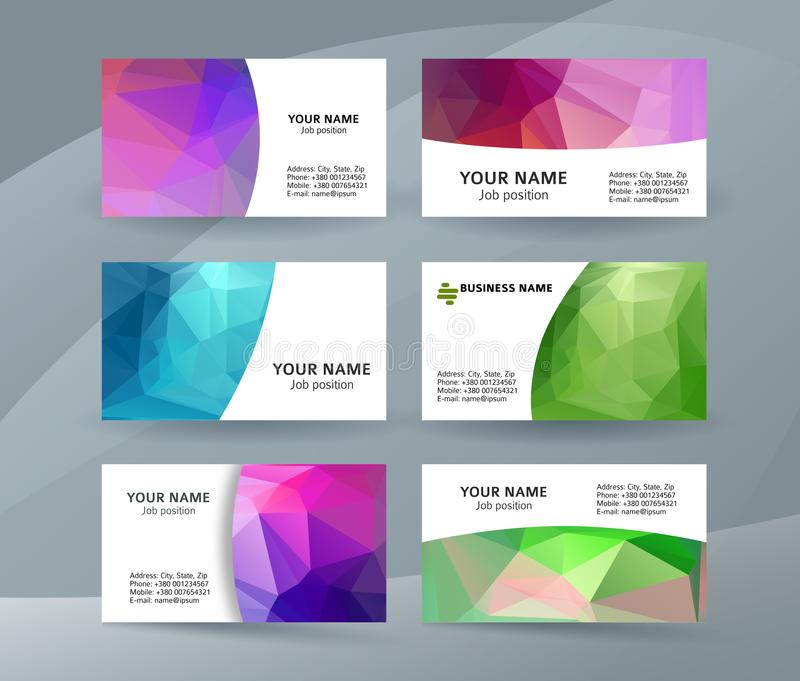 Business card background blue triangle mosaic horizontal templates09 royalty free illustration