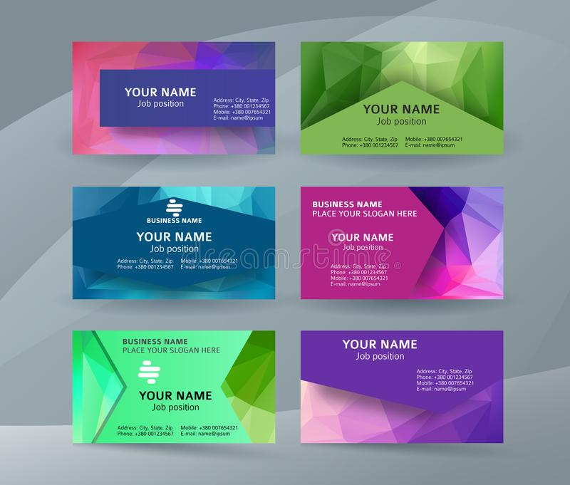 Business card background blue triangle mosaic horizontal templates06 vector illustration