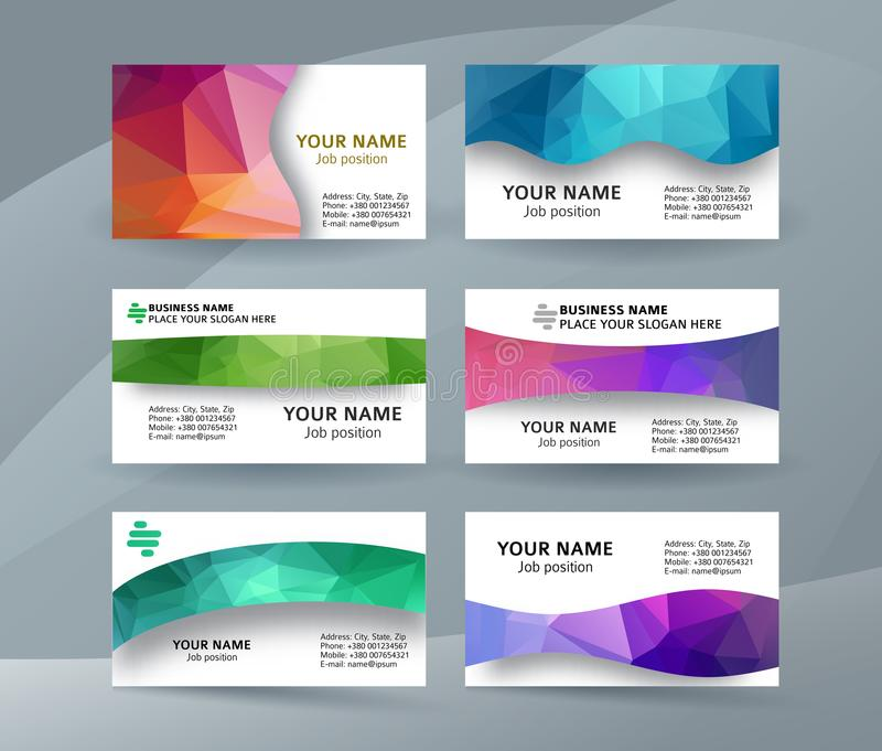 Business card background blue triangle mosaic horizontal templates08 vector illustration