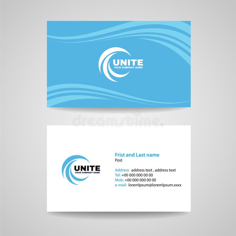 Business card background Template - Blue sky Wave style vector design vector illustration