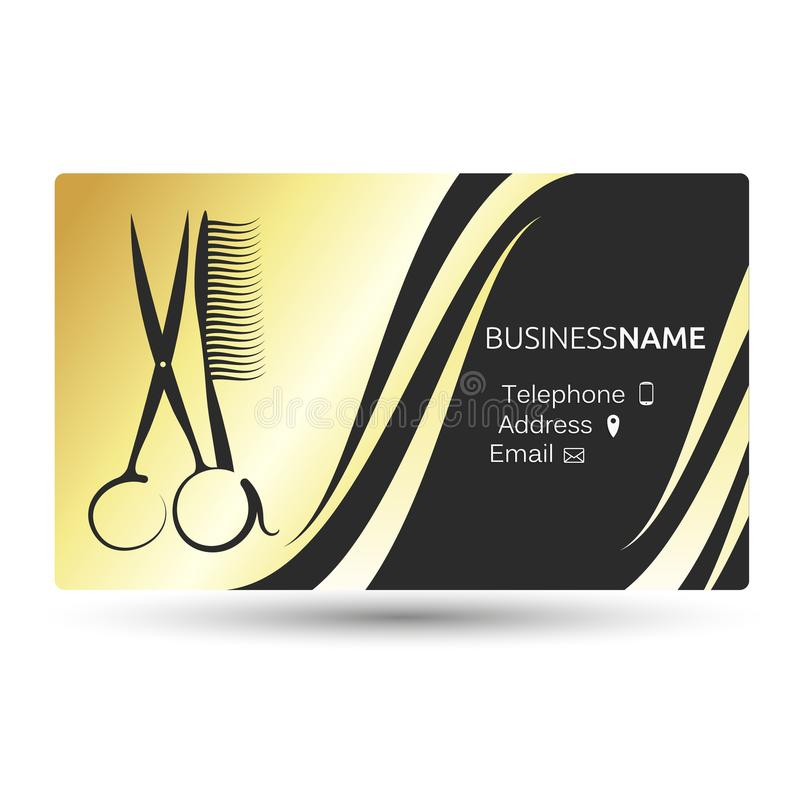 Business card for beauty salon and hairdresser stock vector a business card for a beauty salon and barber shop gold color reheart Choice Image