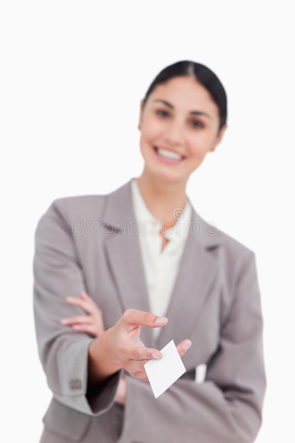 Download Business Card Being Handed Over By Smiling Saleswoman Stock Photo - Image: 23014146