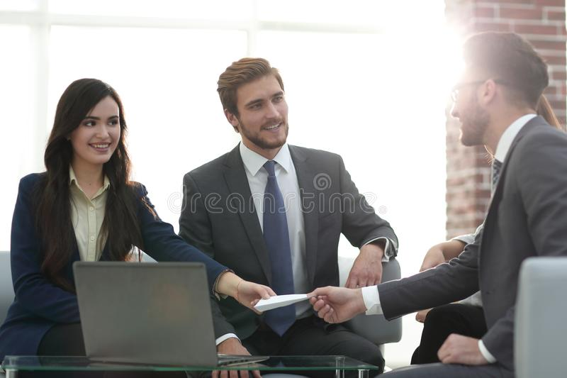 Closeup portrait of two successful business executive exchanging royalty free stock photos