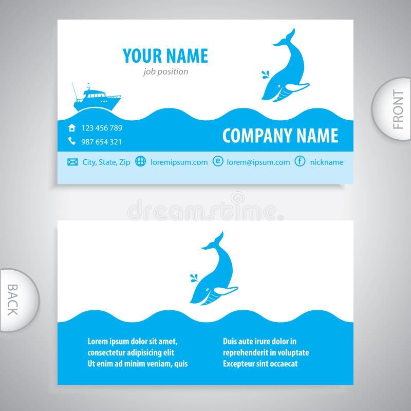 Business card - Big whale - symbol sea. Company presentations royalty free illustration