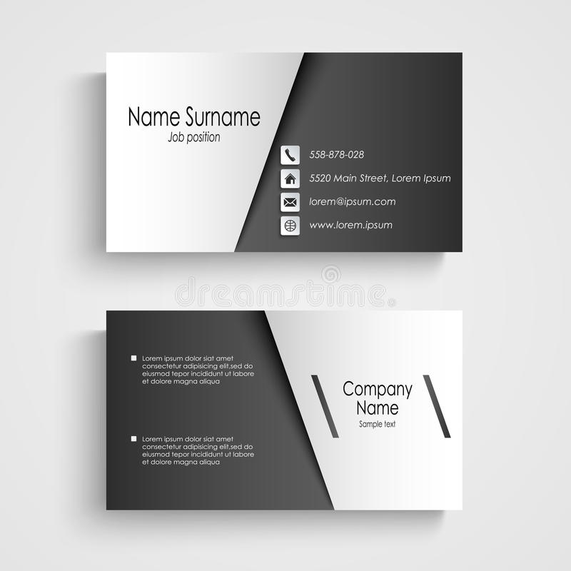 Business Card With Black And White Sticker Template Stock Vector ...