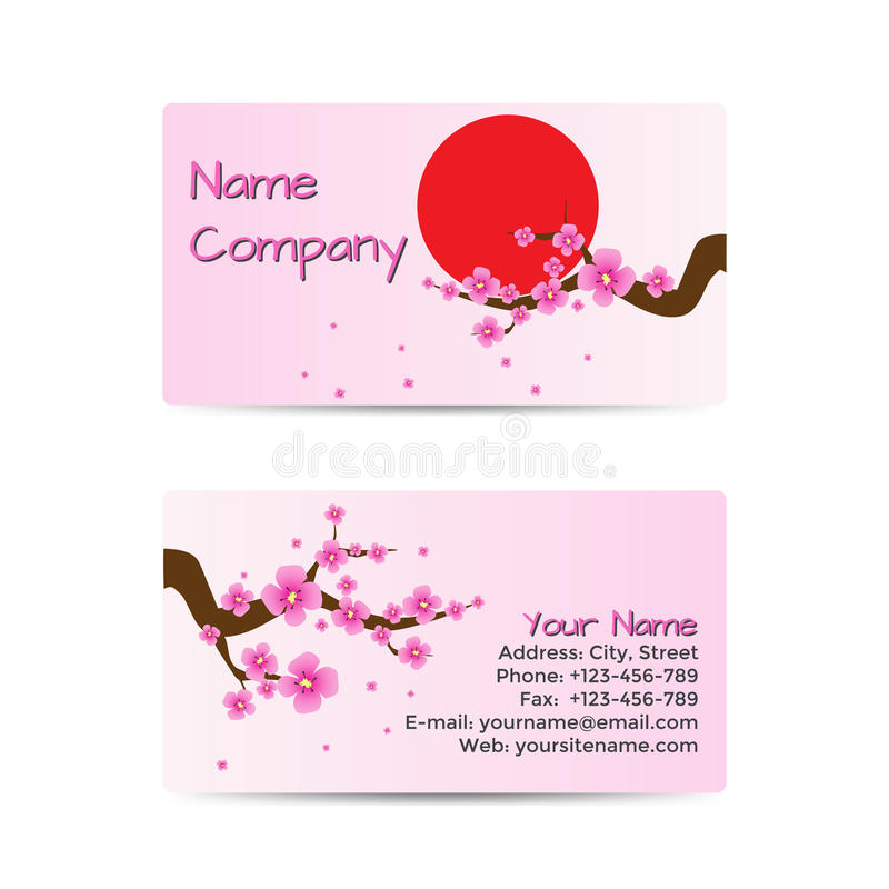 Business Card With Blooming Sakura Stock Vector - Illustration of ...