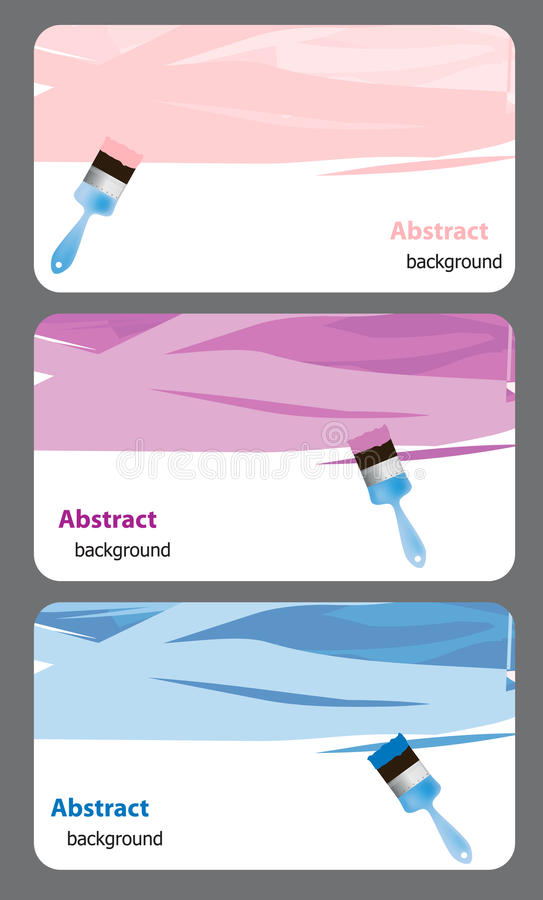 Business Card With Blue Paint Brush And Paint. Stock Vector ...