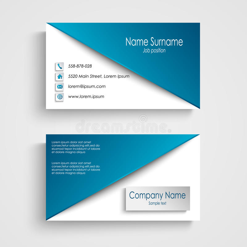 Business card with blue white background template stock for Business card template eps